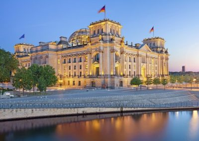 Image of illuminated Reichstag Building in Berlin, Germany.