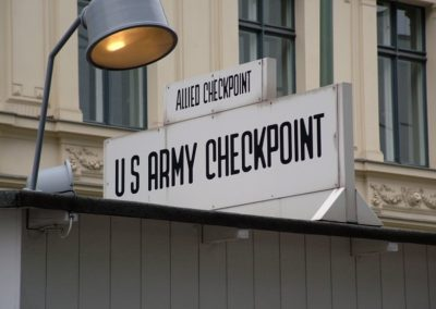 The sign at Checkpoint Charlie, the Allied checkpoint between East Berlin and West Berlin during the cold war