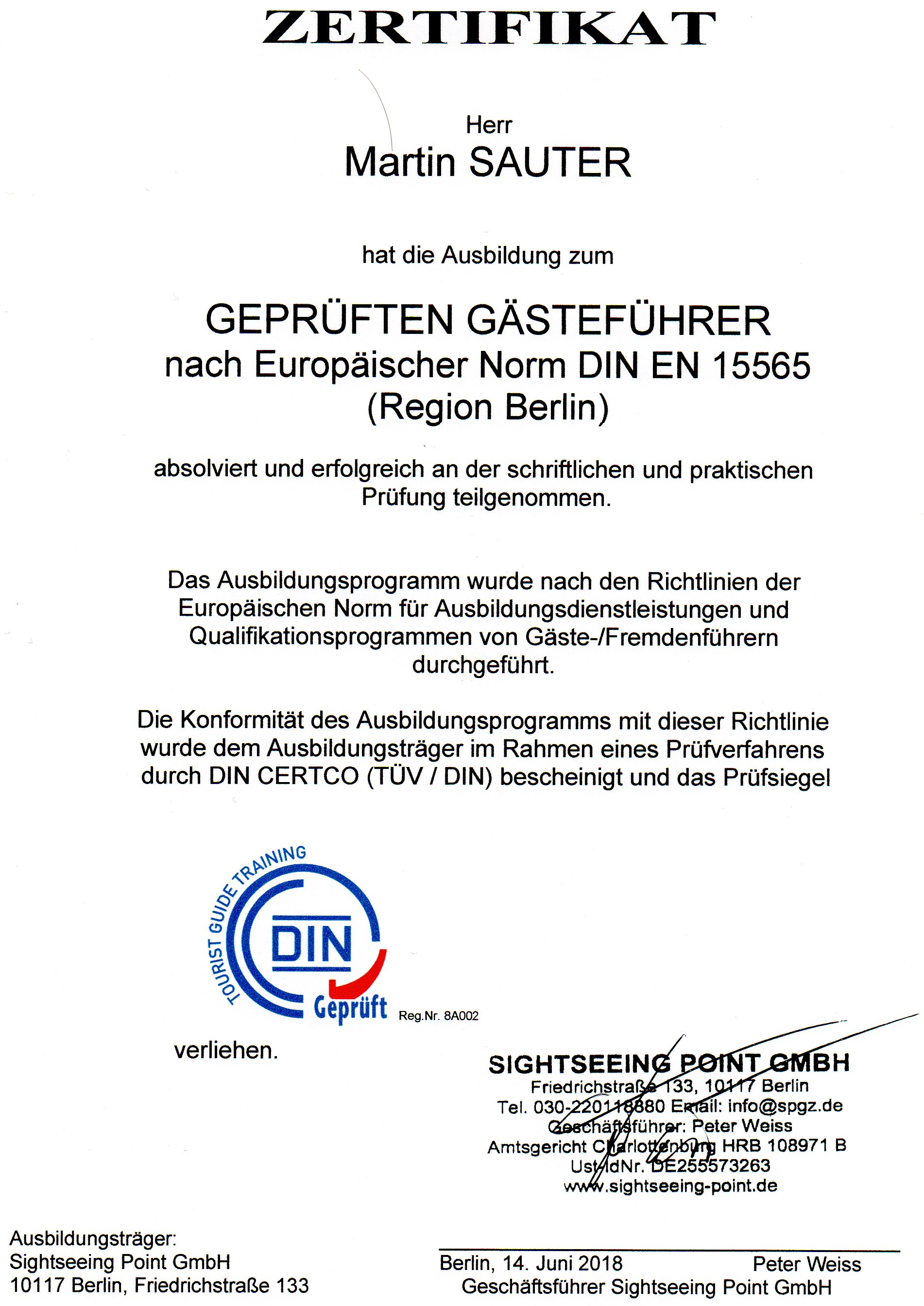 Certificate - Official Tour Guide Berlin